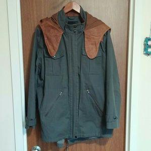 ASOS Premium Leather Hood Grey Parka 12